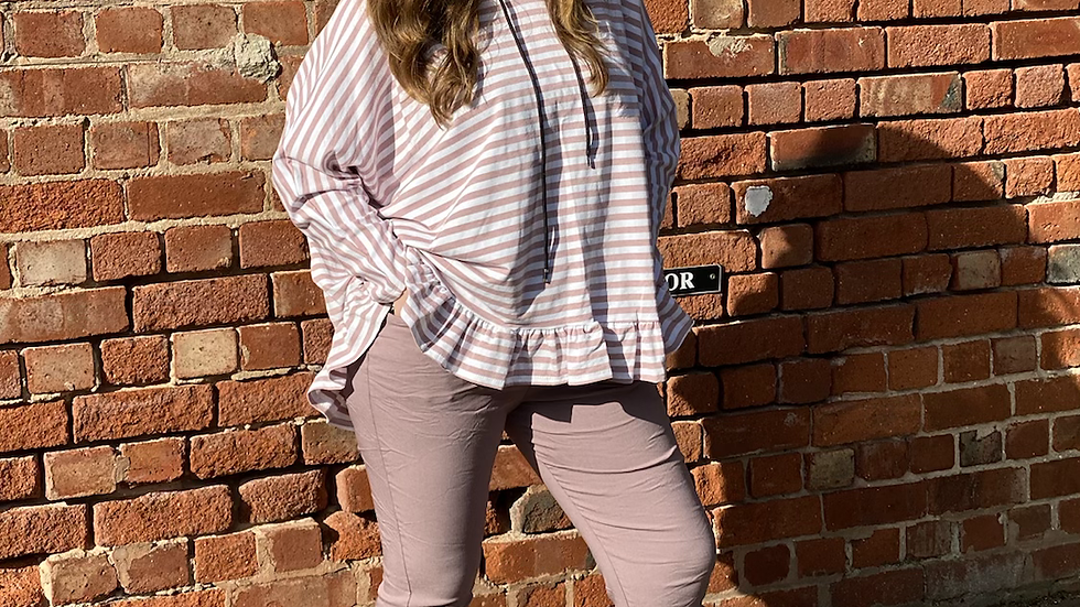 Striped Frill Hoodie