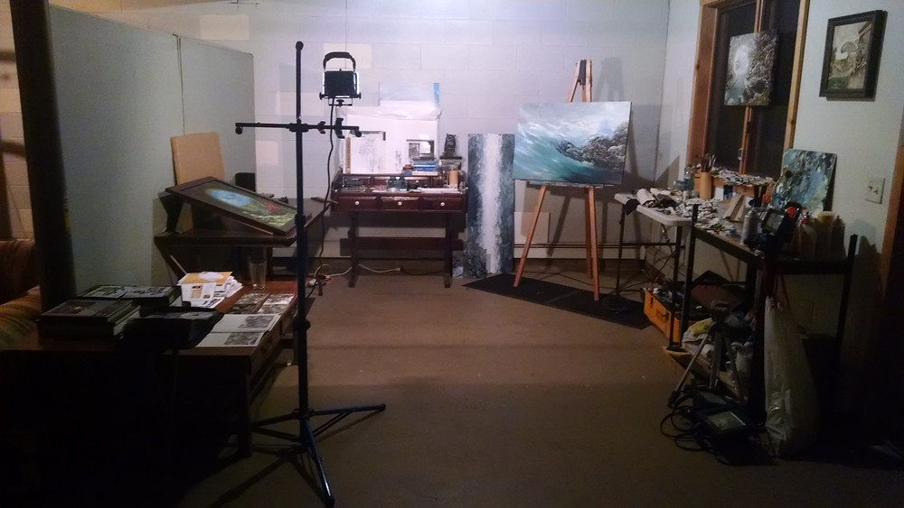 For now this is my humble studio, minus all the stuff I had before...long story.  I miss my good easel, lol.
