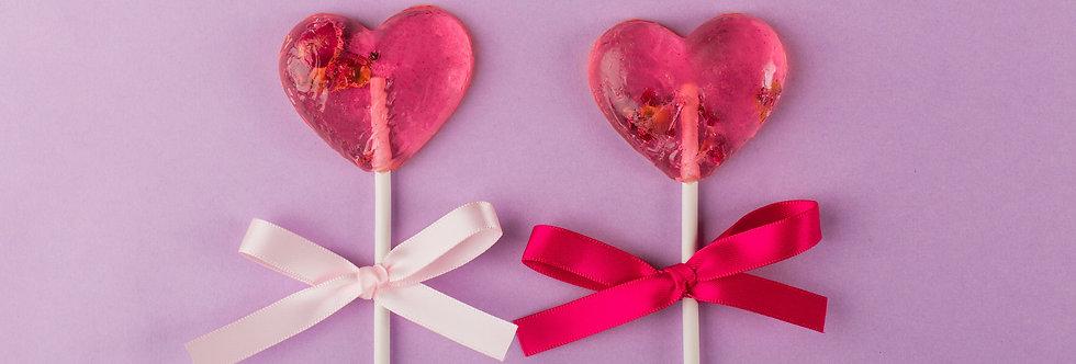 LOVE HEART LOLLIPOPS (6 PIECES)