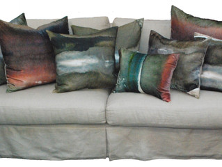 Silk velvet and linen printed with landscape from New Zealand artist.