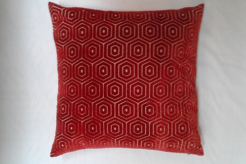 Geometric velvet cushion