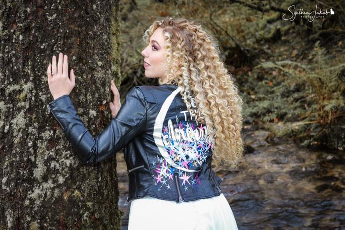 Jessie Wellington Illustration Hand Painted Leather Jacket