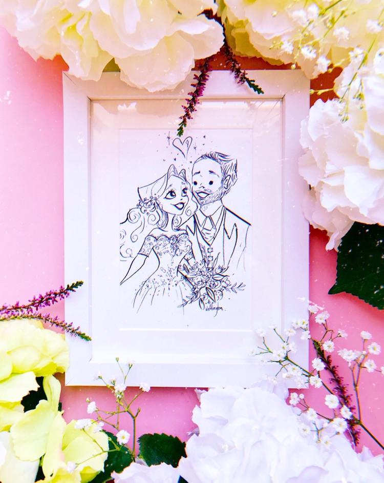 Jessie Wellington Illustration Bride and Groom Portrait