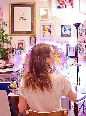 Jessie Wellington, illustrator, desk inspiration, workspace