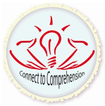 Circle logo, white background, hands cupping a light bulb, Connect to Comprehension
