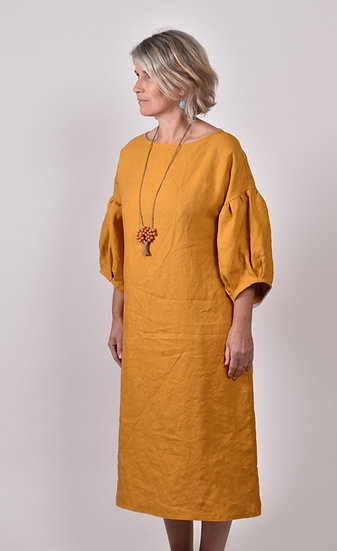 Linny Shift - mustard puff sleeves