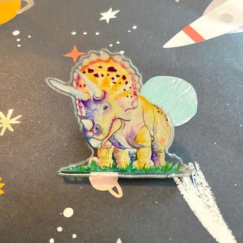 Acrylic Triceratops Pin