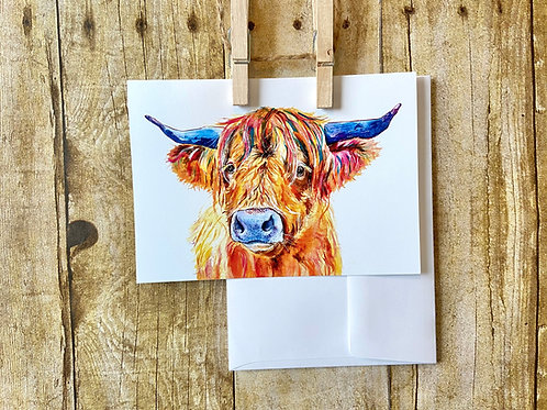 Highland Cow Note Card