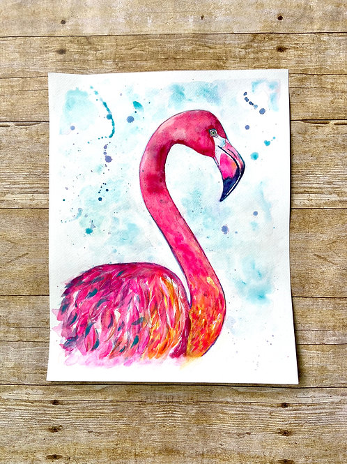 Peg the Flamingo Original Painting