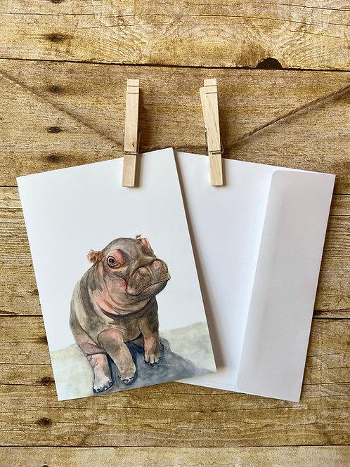 Percival Hippo Notecard