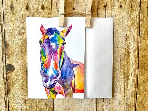 Rainbow Horse Note Card