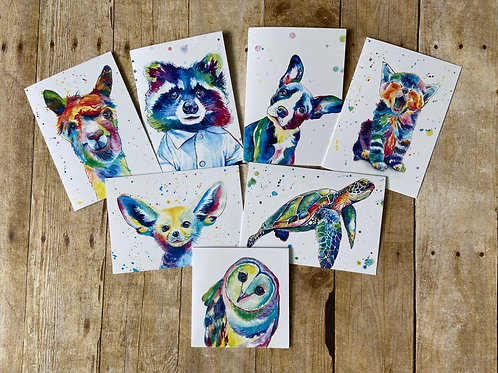 Pop Art Animal Note Card Set (7)