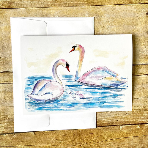 Swan Family Note Card