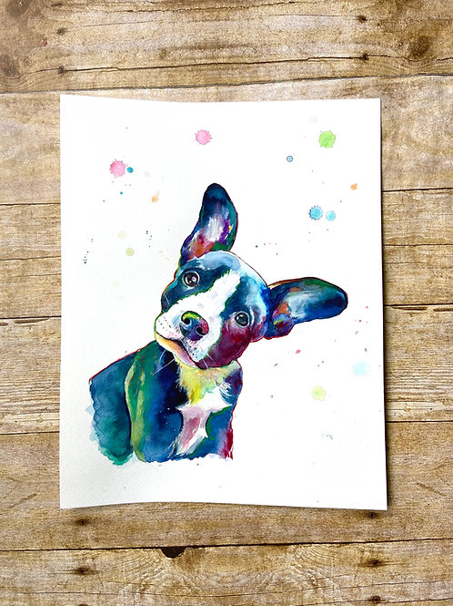 Bean the Rescue Dog Original Painting