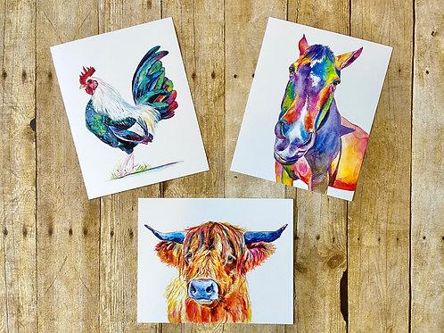 Farm Animal Art Print Set