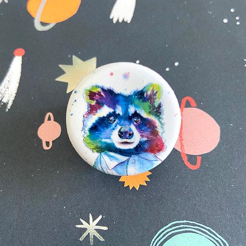 Pop Art Raccoon Button