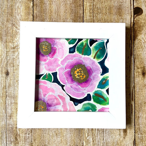 Flowers with Gold Leaf Original Painting (framed)