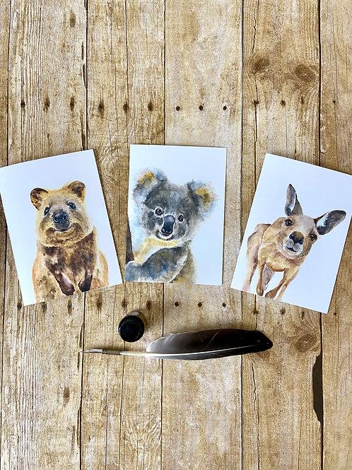 Australian Animal Note Card Set