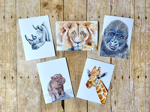 African Animal Notecard set