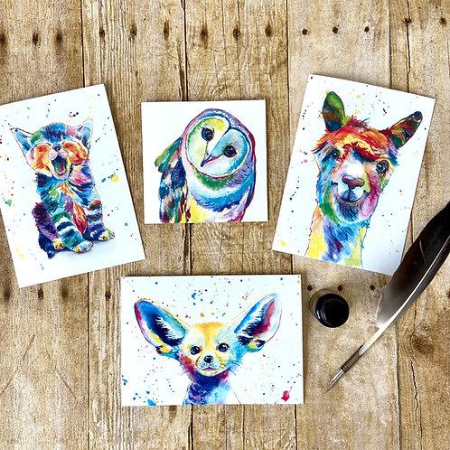 Pop Art Animal Note Card Set (4, 8, or 12)