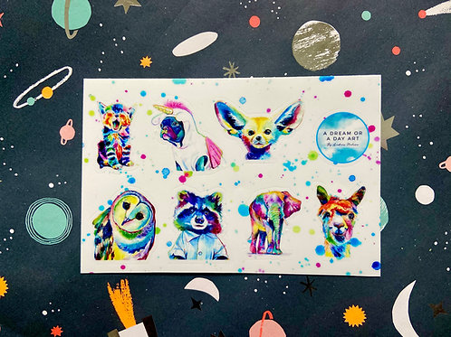 Pop Art Animal Sticker Sheet