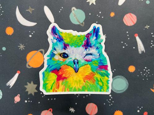 Winking Owl Sticker