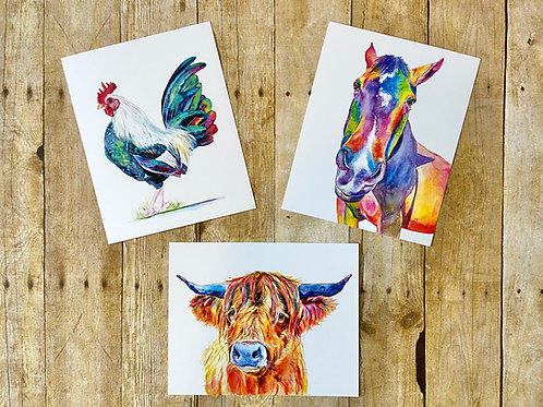 Farm Animal Note Card Set