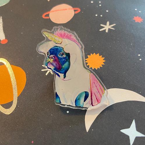 Acrylic Unicorn Pug Pin