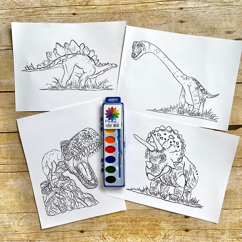 Dinosaur Watercolor Pages
