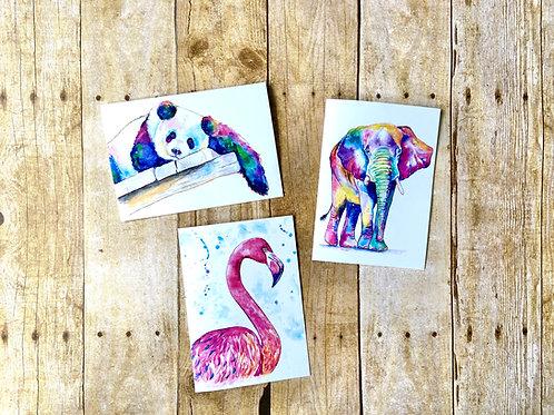 Zoo Animals Pop Art Note Card Set