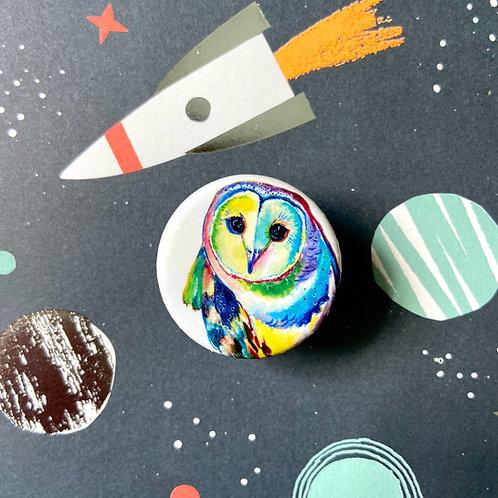 Pop Art Owl Button