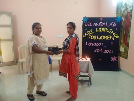 Aari designing workshop for women.