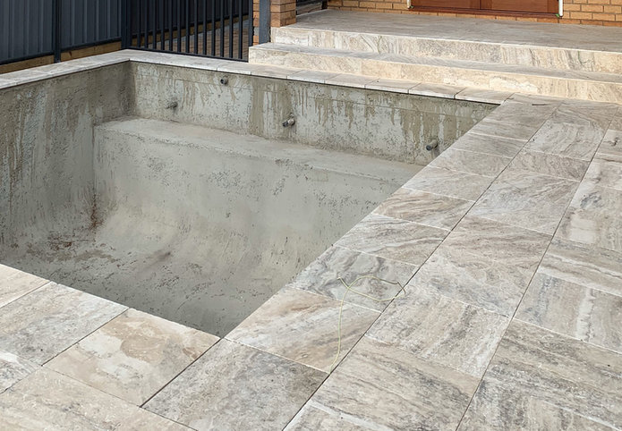 Paving project at Pool surround