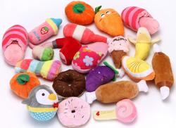 Squeaky fruit plush toys