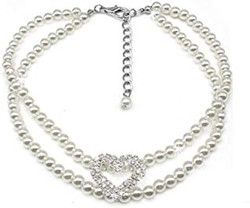 white pearl dog necklace and charm