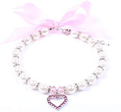 white pink bow dog necklace