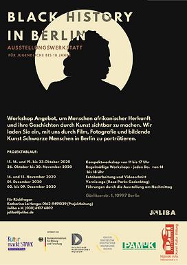 Black History in Berlin_ Ausstellungswerkstatt. Film, Fotografie und bildende Kunst Workshop Angebot, um Menschen afrikanischer Herkunft und ihre Geschichten durch Kunst sichtbar zu machen.