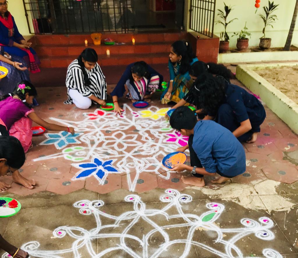 Rangoli done by the Ea team
