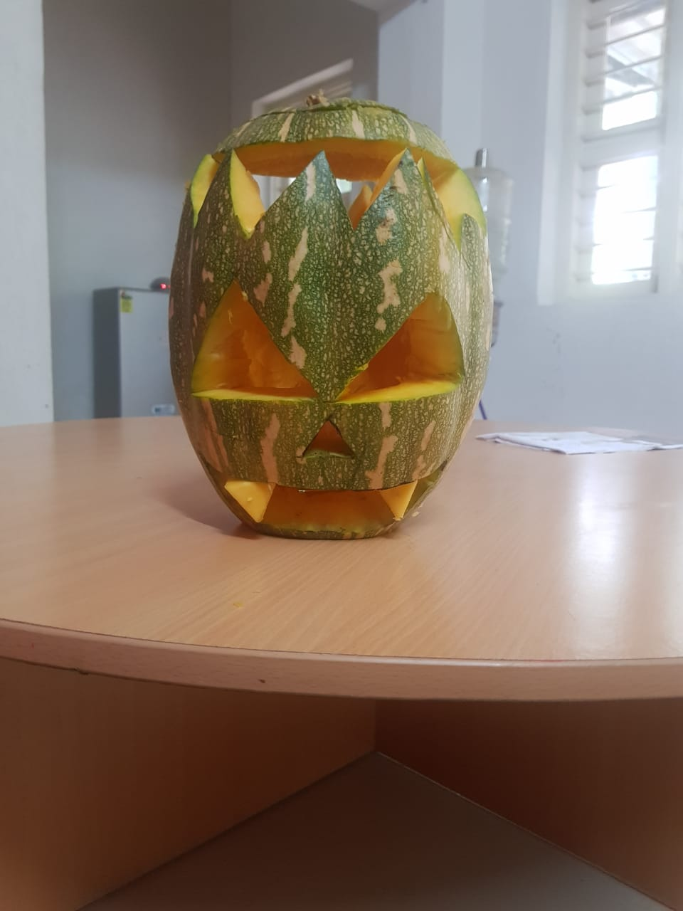 Before decorating the pumpkin