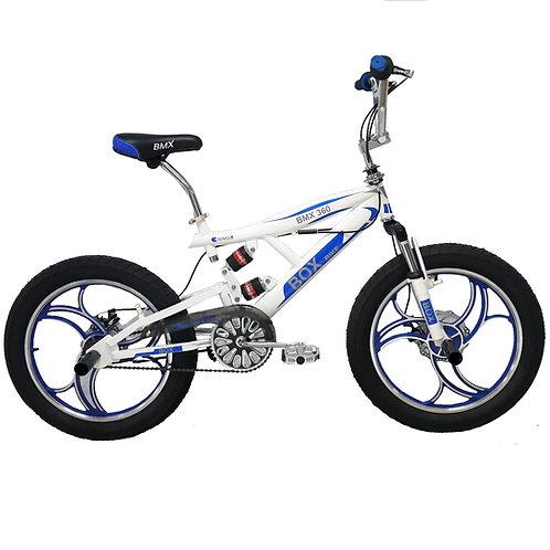 Bicicleta BMX 2021 con Suspensión Aro 20 - Blanco con Azul