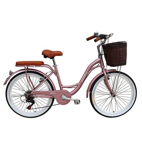 Bicicleta Vintage Box Bike Aros 24  - Rosado Metálico