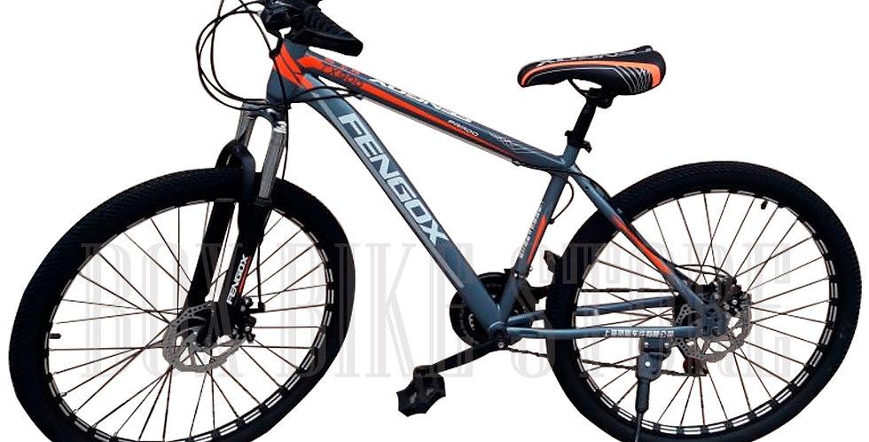 Bicicleta MTB Aro 26 Modelo Fengox - Plomo y Naranja