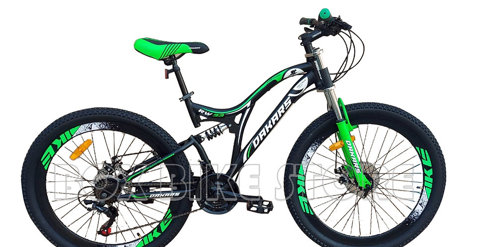 Bicicleta Mtb Aro 26 Doble Amortiguador Unisex - Verde
