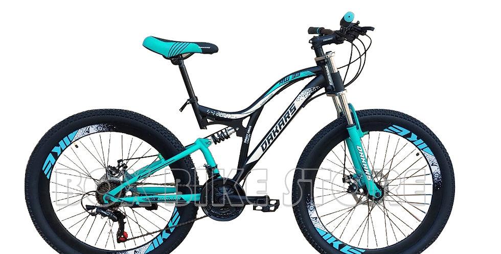 Bicicleta Mtb Aro 26 Doble Amortiguador Unisex -Turquesa