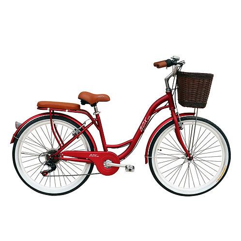 Bicicleta Vintage Box Bike Aros 24  - Rojo Metálico