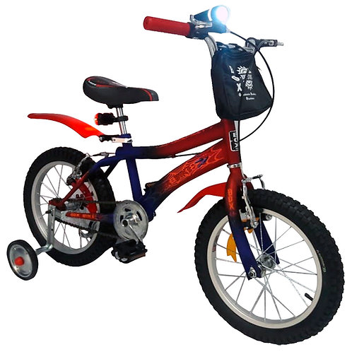 Bicicleta Para Niños en Aro 16 - Hombre Araña (Incluye Pack de Luces Led)