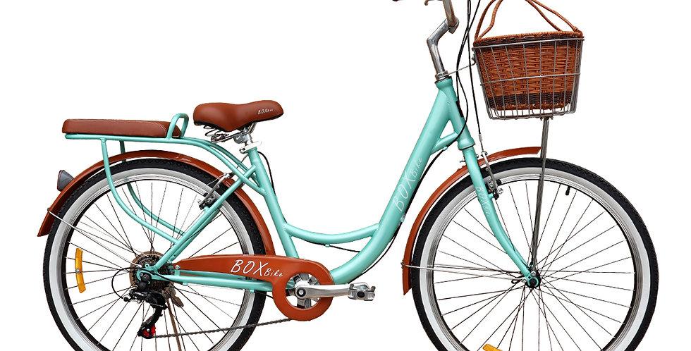 Bicicleta Box Vintage Aro 26 con Shimano Tourner - Verde con Marrón