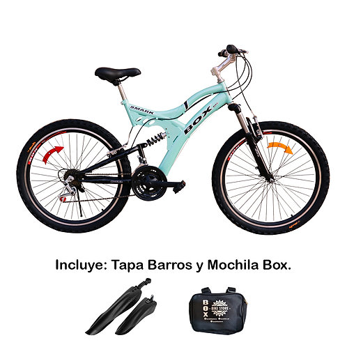 Bicicleta Box Zeus Aro 26 Doble Amortiguador - Verde Agua