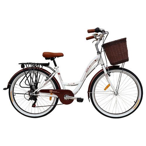Bicicleta Box Vintage Modelo Romántica Aro 26 - Blanco