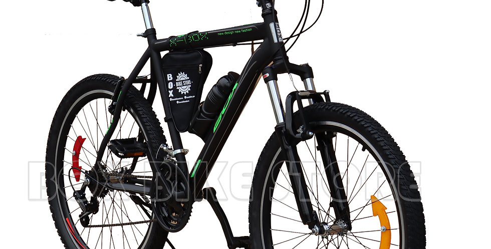 Bicicleta Box Bike Modelo Elite Aro 26 - Full Shimano Negro con Verde